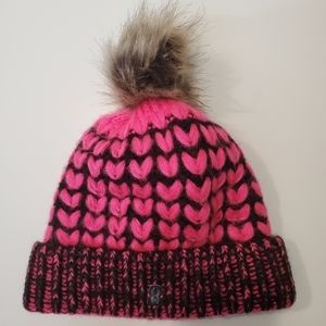 Spyder Women's Pink and Black Pom Hat New Without Tags